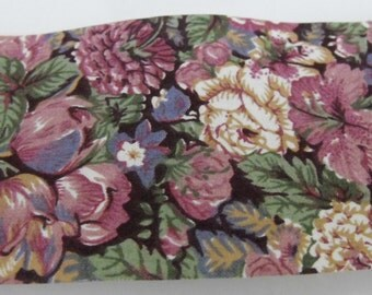 Plum and Ivory Flower Fabric Ribbon 5 Yards