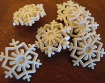 6 White Snowflake Shank Buttons Size 15/16""