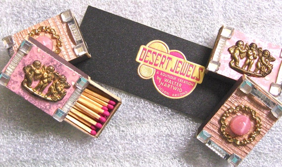 Take 20% Off Retro Four Pack Angel PINK Gems Wood Collectible Match Boxes