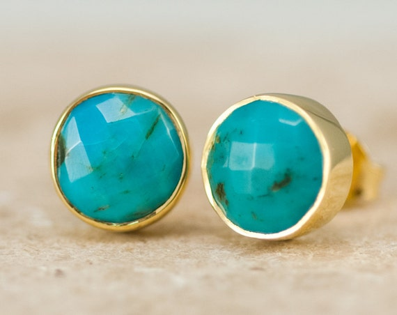 Turquoise Stud Earrings - December Birthstone Studs - Gemstone Studs - Round Studs - Gold Stud Earrings - Post Earrings