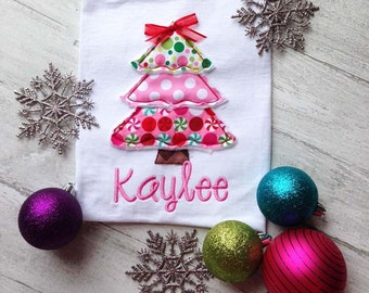 Christmas Tree Shirt- Christmas Shirt- Holiday Shirt- Christmas Applique Shirt