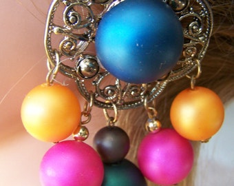 "Vintage  60's  ""DINGLE BALL CLIP-ONs"" Gold toned Multi Colored Filigree Design"