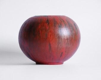 Mid Century  Red Vulcano  Ball Vase - Ruscha 60s