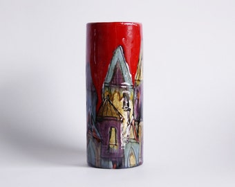 Mid Century Rare Italian Hand Painted Vase - Elio Schiavon 60s
