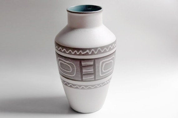 Large Grey West German Floor Vase - 1970s