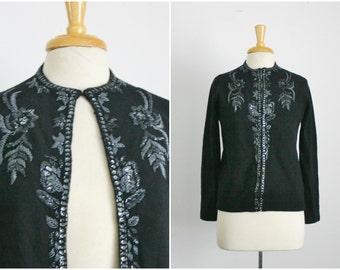 1950s floral motif beaded black cardigan sweater, size medium