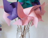 Princess Party Decor Baby Shower Favors Wedding Favors Decor Birthday Favors - 12 Large Paper Pinwheels