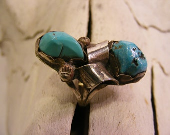 Double Stone Turquoise Long Ring, Estate Ring, Nickel Silver