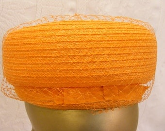 Tangerine Orange Pill Box Hat with Netting and Bow