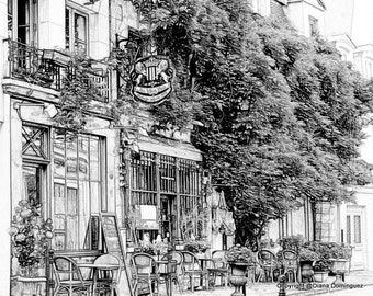 Sketch- Parisian Cafe- Paris France Sketch 8x10 Drawing, sidewalk, cafes, coffee, paris, france, ink drawings