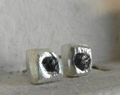 One of a kind-unisex-free form-genuine-raw rough diamond stud earrings-pave set- organic silver-RESERVED for Phyllis