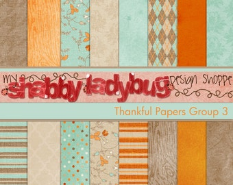 """Thankful Digital Textured Paper Collection Group 3: 16 Individual 12x12"""" 300 dpi digital scrapbook papers"""