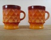 2 Fire King Anchor Hocking Kimberly Diamond Pattern Brown Orange milk glass mugs