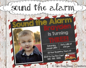 Sound the Alarm Fire Truck Birthday Party Invitation
