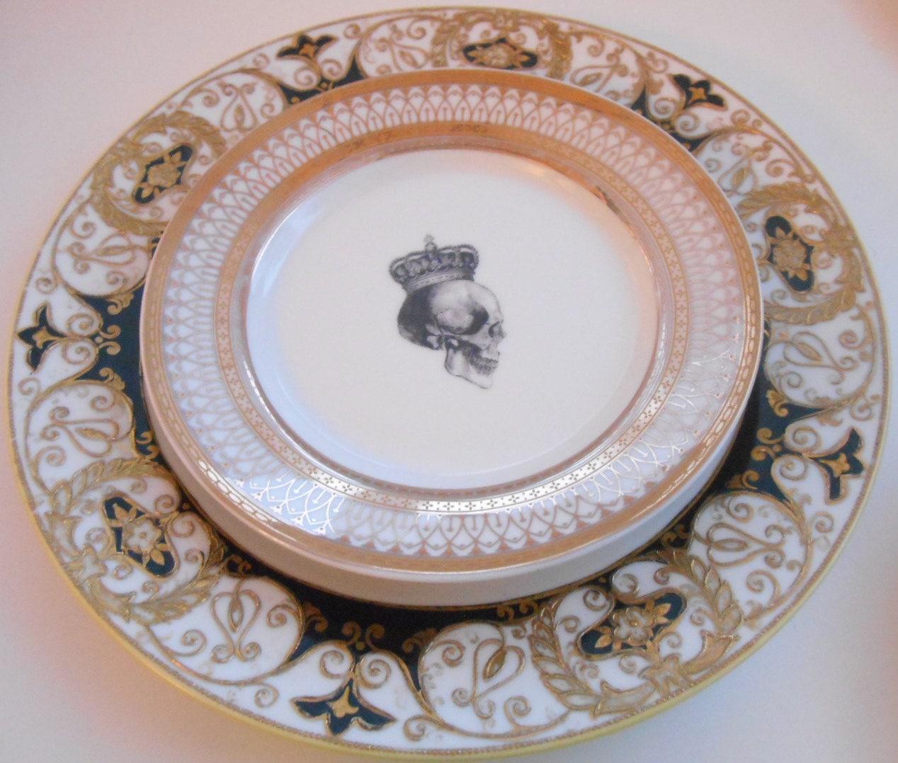 Black and Gold Skull Dinner Set - Noritake Dinner Plate and Ornate Gold Skull Salad Plate & Black and Gold Skull Dinner Set - Noritake Dinner Plate and