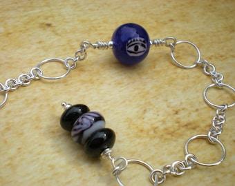 Travel talisman anklet, blue glass, black onyx, evil eye, blue ankle bracelet, sterling silver, unique jewelry by Grey Girl Designs on Etsy