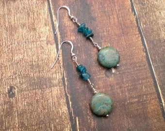 Heaven's tears earrings, blue sky jasper, blue apatite, sterling silver, fish hook style, one of a kind, unique jewelry by Grey Girl Designs