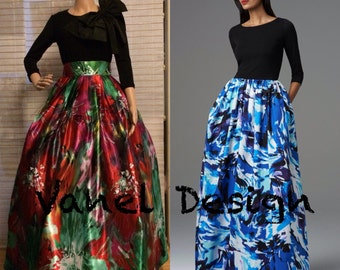 Long elegant couture multicolor skirt, high fashion skirt, party skirt edgy evening gown, ball gown, formal wear, prom skirt