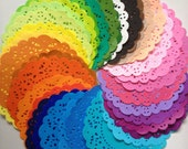 50 Colored paper doilies . Pattern design . round paper doilies . 4 inch . small gift wrap . colorful