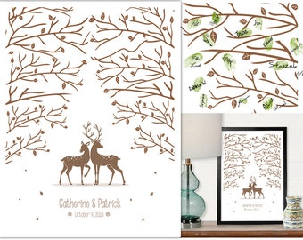 "Wedding Tree Guest Book with deers - Printed Poster - 13""x19"""