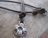 Rustic Artisan ZIA Sterling Necklace Leather Strand New Mexico Jewelry