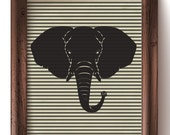 Modern Elephant Print on a Black and White Striped Background - Wall Art, Gift Cards, Iron- On Transfer - Instant Digital Download 8x10