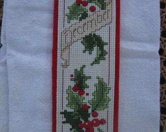 Flower December Cross Stitch Bookmark