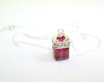 Fuchsia Crystal Cube Necklace, Swarovski Elements Crystal Pendant Necklace, Fuchsia Pink Crystal, Bridal Jewelry, Wedding, Bridesmaids