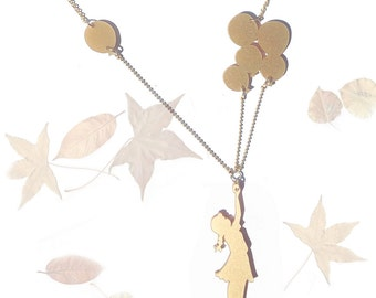 Balloon girl gold acrylic (plexiglass) necklace, Girl with balloons, Statement neckalce, gold plated chain