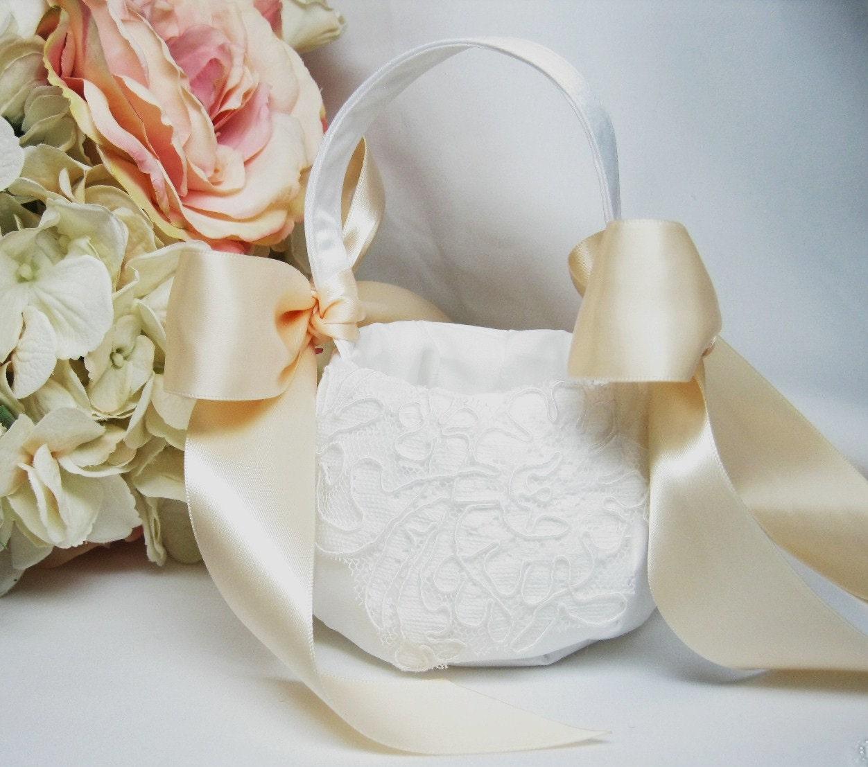 Flower Girl Basket Blush : Blush and white flower girl baskets by flowerdancebridal