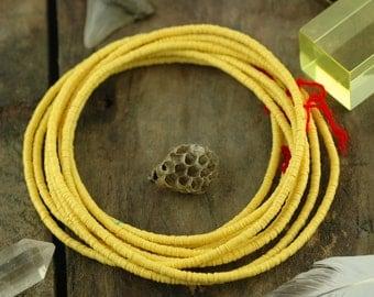 Sunshine: African Vinyl Vulcanite Phono Record Disc Heishi Beads, Bright Yellow, 3x.5mm /Jewelry Making, Craft Supplies / Boho Fashion