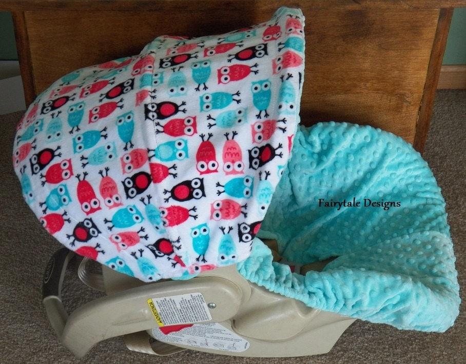 infant car seat cover owl minky. Black Bedroom Furniture Sets. Home Design Ideas