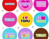 Vegetarian Button Vegan Button Tofu Button Flair or Flatback Button 1 inch set of 10