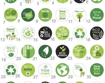 Go Green Recycle Eco  Flair 1 inch Pinback Button, Flatback, Badge or Magnet set of 10