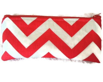 Chevron Coral and White Pencil Case/cosmetic pouch