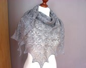 GREY flowers- hand knitted shawl cashmere