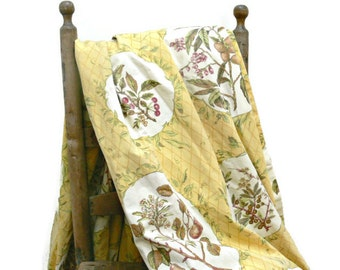 Yellow Cotton Curtains - Set of 2 Vintage Long Drapes - Apples and Berries