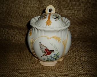 Covered Jar, Birds and Roses, Porcelain, Artist Signed, 1982, Robin, Bluebird, Roses