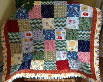 """patchwork baby quilt boy / girl in 5"""" squares with helicopters / giraffes / elephants / zebras / chevron"""