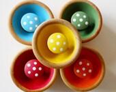 Natural Wooden Sorting Toy, Sorting Game, Educational Game, Waldorf Toy, Bowls of Mushrooms