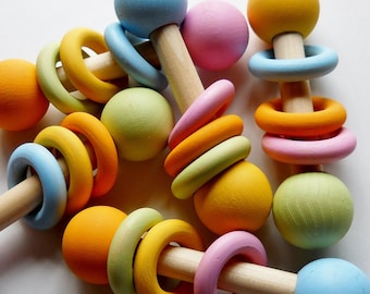 Pastel  Wooden Baby Rattle, Teething Toy, Natural, Eco Friendly, Waldorf Toy, Stocking Stuffer
