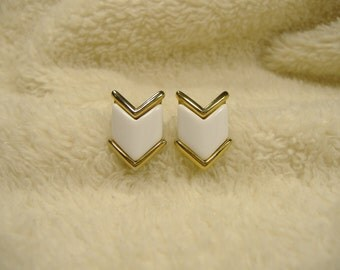 Vintage 1970s Trifari White Enamel Post Back Earrings