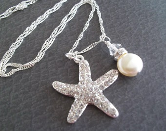 Starfish Wedding Necklace,Rhinestone Starfish Necklace,Swarovski Pearls,Beach Nautical Wedding Jewelry,Bridesmaids Necklace,Sterling Chain