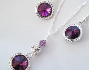 Bridesmaid Jewlery Set,Purple Bridesmaid Necklace and Earrings Set,Swarovski Amethyst,Purple, Bridesmaid Jewelry,Bridesmaid Earrings