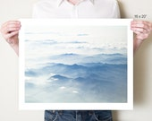 Mountains photography print. Blue misty Japanese landscape photograph, Japan Asian decor, Honshu artwork. Fine art photo, large format print