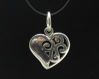 PE000215 Sterling silver pendant Charm Small Heart solid 925