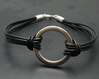 B000125 Sterling Silver Bracelet Solid 925 Circle Natural leather