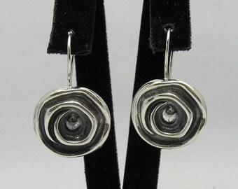 E000035 Sterling Silver Earrings Solid 925 Handmade Spirals