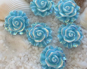 Resin Stunning AB Flower Cabochon - 20 mm - 12 pcs - Blue