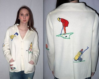 18 hole harmony .. vintage 60s 70s cardigan / novelty golf sweater / kitsch hipster unisex .. S M L / bust 42
